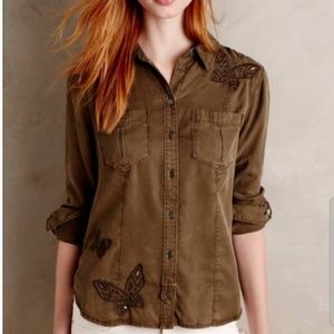 Anthro Holding Horses embroidered butterfly shirt
